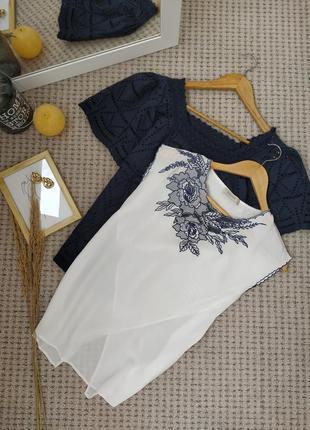 Оригинальная блуза с вышивкой и красивой спинкой oasis