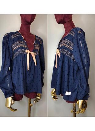 Odd molly хлопковая синяя блуза в бохо стиле вышиванка бебидолл rundholz owens