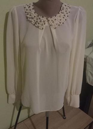 Красивая женская молочного цвета кофта dorothy perkins блузка с расшитым воротником.