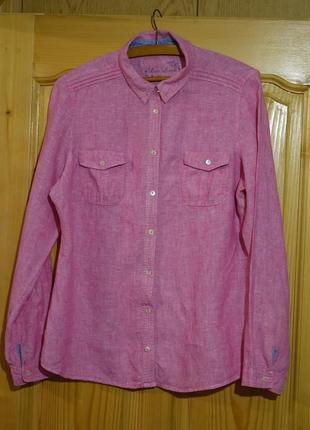 Мягенькая розовая льняная рубашка m&s love linen англия 14 р.