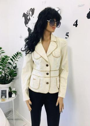 Promod франция - новый стильный жакет пиджак из натурального хлопка и льна - пуговицы из кокоса