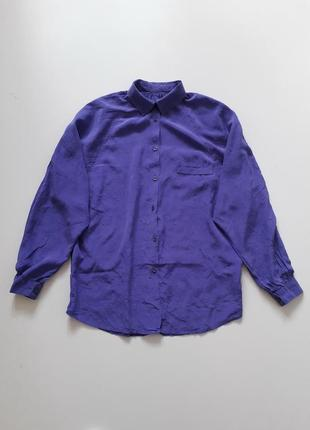"""Винтажная шелковая рубашка блуза с эффектом """"жатки"""" оверсайз"""