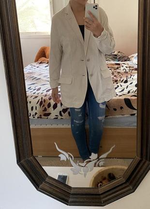 Легкий хлопковый пиджак h&m в мелкую полоску