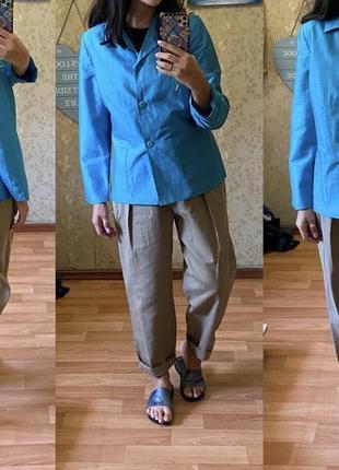 Льняной лен пиджак жакет бирюзового цвета more&more