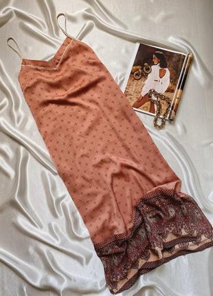 Сатиновое платье миди в бельевом стиле с разрезами secret prossession