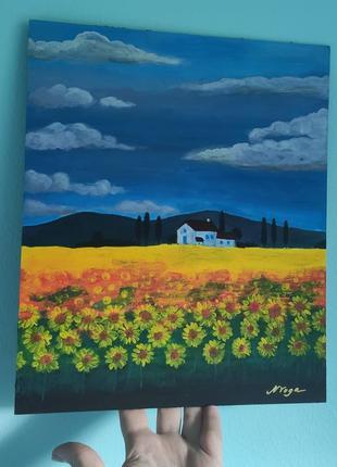 "Картина акрил ""поле с подсолнухами"""