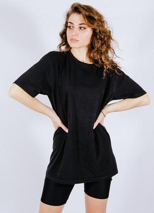 Женская черная футболка однотонная, жіноча чорна футболка однотонна