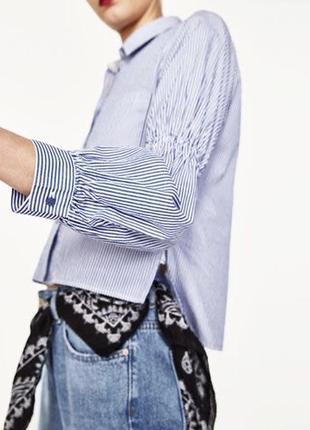Укороченная рубашка,блуза в бело-голубую полоску с широкими рукавами zara,хлопок 100%