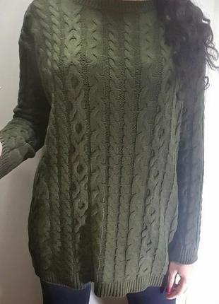 Длинный теплый зеленый свитер от asos