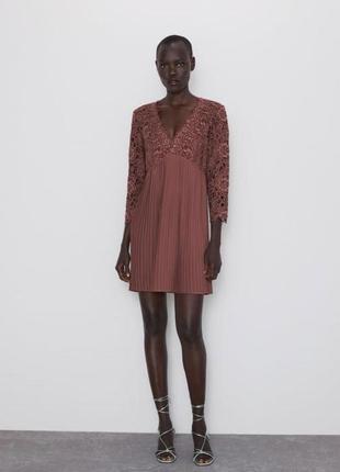 Нарядное платье плиссе+кружево zara