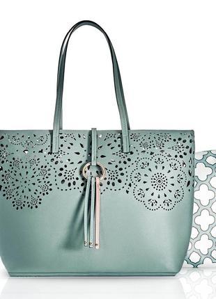 Стильная сумка мятного цвета1 фото