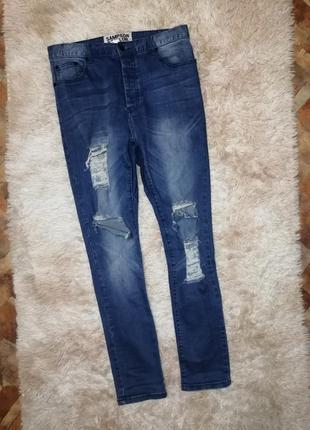 Фирменные джинсы стрейч штаны брюки батал на пышные формы с высокой посадкой