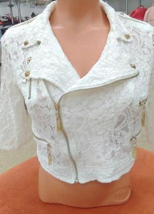 Летняя ажурная куртка- косуха летний жакет белый турция