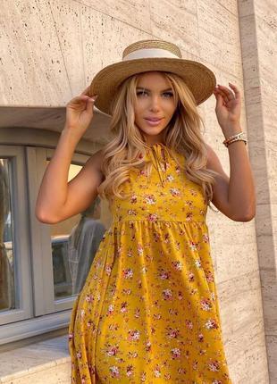 Желтое платье цветочный принт