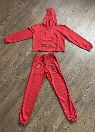 Спортивные костюм красный, худи и джогеры, спортивний костюм