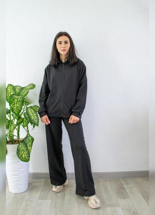 Стильный💥черный женский костюм двойка оверсайз (кофта - худи и штаны-палаццо), хлопок, спортивный