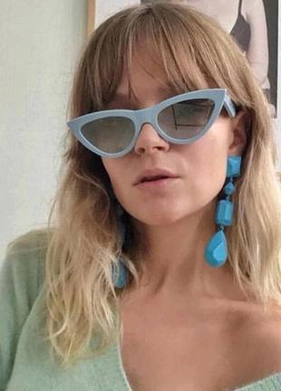 Крутые солнцезащитные очки лисички голубые кошечки ретро окуляри сонцезахисні блакитні лисички