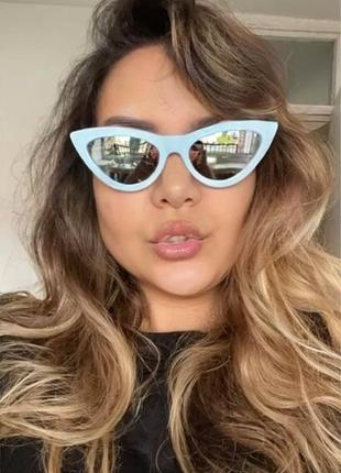 Тренд голубые зеркальные очки солнцезащитные кошечки дисички ретро узкие окуляри блакитні
