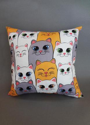 Декоративная подушка, двухсторонняя хлопок и плюш - большие милые коты