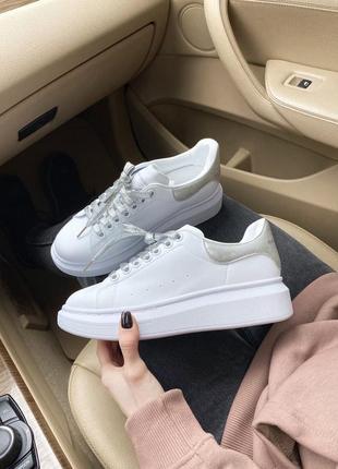 Alexander mcqueen white женские кроссовки наложка