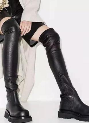 Стильные сапоги ботфорты в стиле bottega veneta