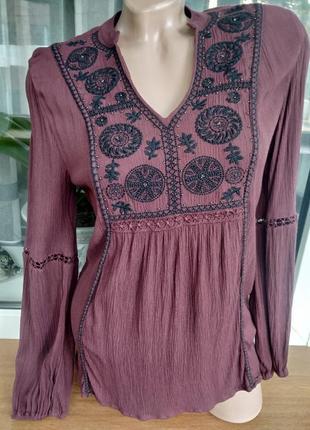 Акция!!! натуральная блузка туника вышиванка бохо стиль.