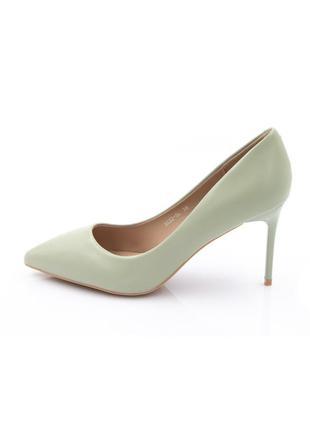 Туфли лодочки женские мятные зеленые экокожа каблук шпилька демисезон nc82