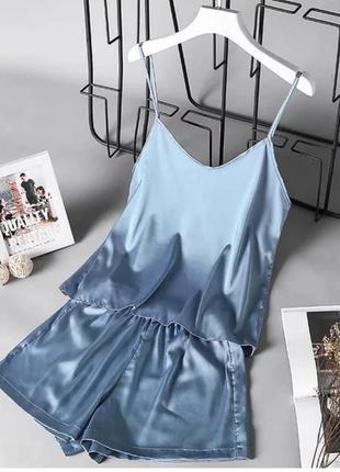 Пижама женский комплект майка шорты шелк голубой olf834