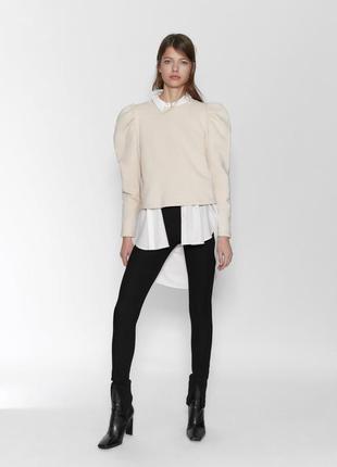 Zara толстовка свитшот свитер балахон с обьемными рукавами