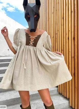 Белое платье, платье со шнуровкой , льняное платье , платье свободного кроя , беби долл