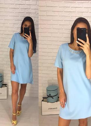 Голубое платье , короткое платье , платье без украшений , платье 44 размера