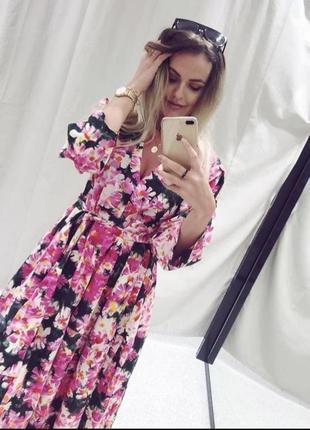 Платье zara из натуральной ткани с поясом в цветочный принт