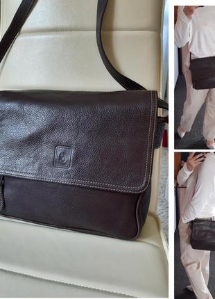 Вместительная кожаная сумка почтальонка,коричневая, италия