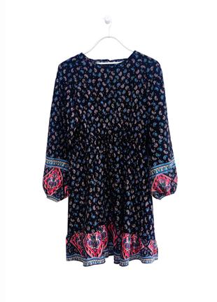 Красивое натуральное платье в узор пейсли турецкий огурец 100% хлопок объемный рукав shein