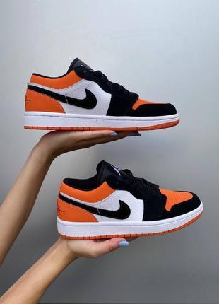 Nike air jordan low orange black white, женские кроссовки