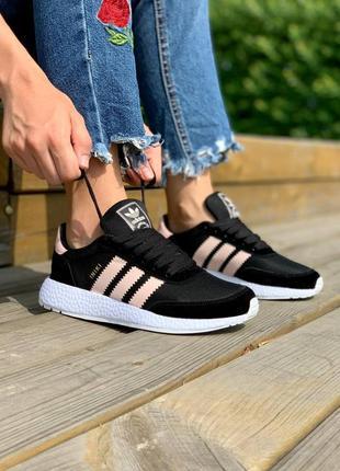 Adidas iniki runner boost black pink, женские кроссовки адидас иники