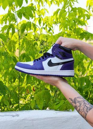 Кроссовки nike air jordan retro 1 mid violet