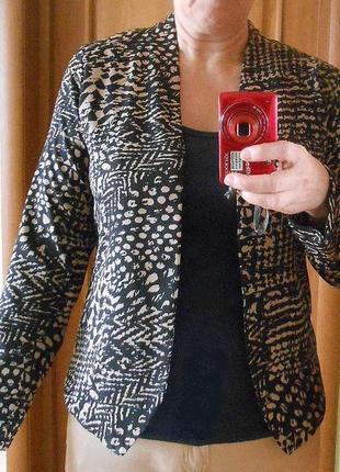 Пиджак тонкий анималистический принт легкий летний подкладка без пуговиц mork летний