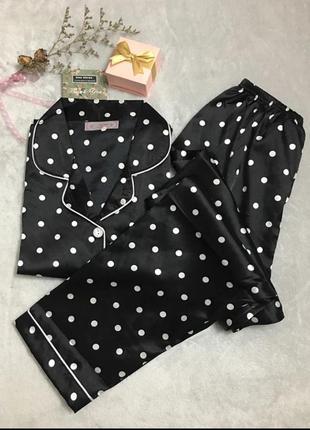 Пижама черная в белый горох