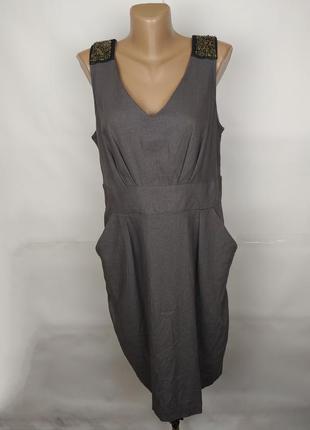 Платье новое натуральное льняное красивое украшенное паетками f&f uk 16/44/xl