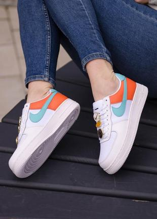 🤍 женские кроссовки nike air force 1 low se white/orange