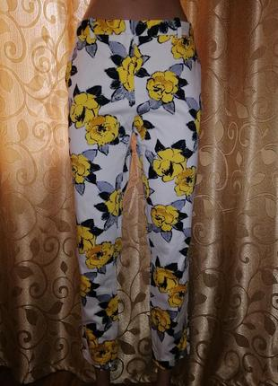 🌺🎀🌺стильные укороченные брюки, штаны в цветочный принт zara basic🔥🔥🔥