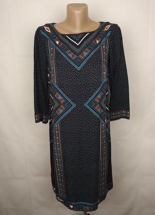 Платье красивое оригинальное натуральное в принт орнамент promod uk 8/36/xs