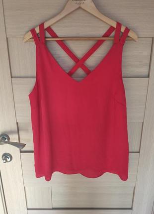 Красивая яркая красная майка блузка без рукавов с невероятно красивой спинкой хл ххл