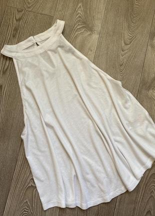 Белая хлопковая блуза холтер ххл , блуза трапеция большой размер