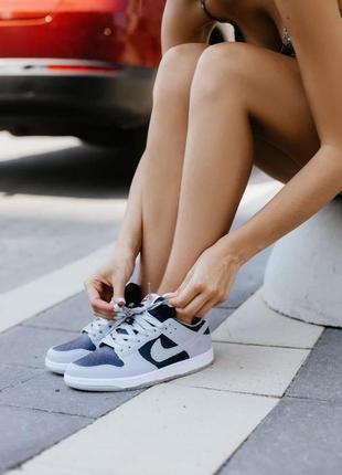 Шикарные женские кроссовки dunk low college navy grey демисезонные