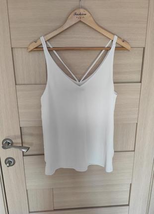 Красивая белая майка блузка без рукавов в бельевом стиле  женская с красивой спинкой с хс