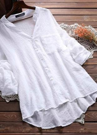Женская удлинённая рубашка туника жатка белый чёрный