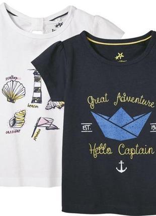 Набор новых футболок в морском стиле для девочки