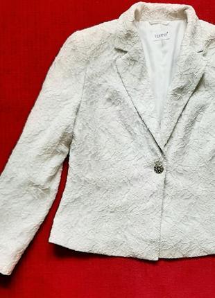 Белый базовый пиджак с гипюром 48- 50 рр